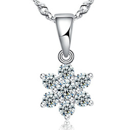 Wholesale Wholesale Dress Plant - Top AAA Diamond Austria Snow Flower Crystal Six Draw Cubic Zircon 925 sterling silver Pendant necklace For Wedding Dress Sets Party