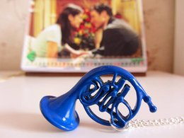 Wholesale French Horn Necklace - Wholesale-New Romantical Quality How I Met Your Mother Blue French Horn Gold French Horn Pendant Necklace