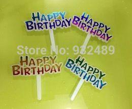 Dessous de gâteaux d'anniversaire en plastique en Ligne-Vente en gros-200pcs beaucoup gâteau en plastique insérer le gâteau joyeux anniversaire gâteau de fête joyeux Noël Topper décoration accessoires outils fournitures