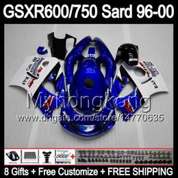 Wholesale Suzuki Gsxr 1996 - 8Gifts Fairing For SUZUKI GSXR600 GSXR750 SRAD 96-00 GSXR 600 750 MY12 GSX R600 R750 96 97 98 99 00 1996 1997 1998 1999 2000 Body Blue white