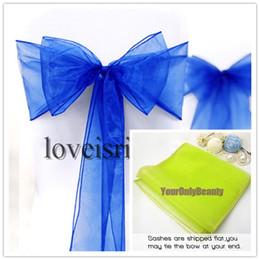 """2019 faja de manzana verde Envío gratis - 25pcs azul real 8 """"(20 cm) de ancho x 108"""" (275 cm) L Sheer Organza Sashes Banquete de boda Silla para banquete Organza Sash Bow"""