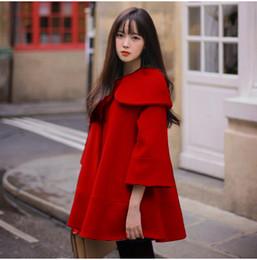 Wholesale Camel Poncho Coat - Korean Fashion Coat Women 3 4 Sleeve Casual Loose Woolen Blend Cashmere Autumn Winter Coat Cloak Poncho Cape Camel Red