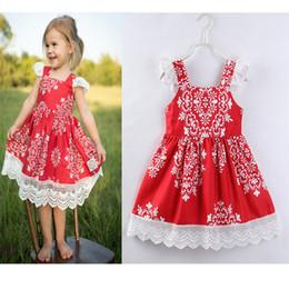 Wholesale Enfant Lace Dresses - 2018 Fashion Childrens for Girls Clothing Floral Lace Princess Dress Newest Cotton Girl Kids Suspender Dresses Boutique Enfant Clothes