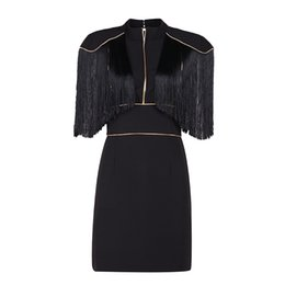 Wholesale High End Mini Dresses - 2017 new women's clothing, European and American big brand high end dress pure color turtleneck tassel dress
