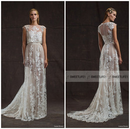 Wholesale Two Piece Sheath Bridal Gowns - Crew Neck Elegant Lace Limor Rosen Wedding Dresses Sheath Cap Sleeves Bridal Gowns Two Pieces Appliques Court Train Wedding Gowns Pretty