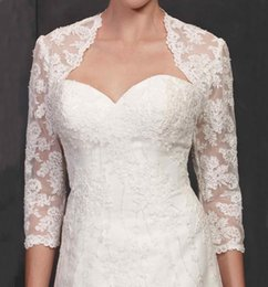 Wholesale Apricot Lace Dress - Modern Lace Jackets for Wedding Dresses 2015 from Eiffelbride with Beautiful Shining Pearls Lace Applique 3 4 Long Sleeve Bridal Wraps