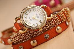 Wholesale Antique Auger - New Arrivals women vintage leather strap watches,set auger chain rivet bracelet women dress watches,women wristwatches