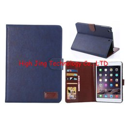 Wholesale Cover Mini Ipad Slot - Retro Crazy horse PU leather flip cover case for ipad mini 2 3 wallet stand case with credit card slots