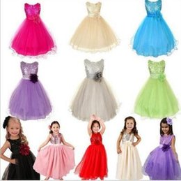 Wholesale Pink Rose Brand Dress - 2016 New Summer Baby Dress Top Quality Kids 3D Rose Flower Dress Girls Sleeveless Sequin Dress Princess Party Dress Bow tutu Dress 0053