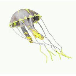 Decoración del tanque de medusas online-No tóxico respetuoso del medio ambiente de silicona simulación que brilla intensamente artificial medusas acuario decoración Home Fish Tank decoración ornamento