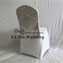 Wholesale silver wedding banquet chair covers - Silver Color Bronzing Coated Lycra Spandex Chair Cap Hood Fit For Banquet Wedding Chair Cover Free Shipping