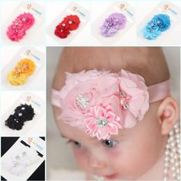 Wholesale Fascia per capelli battesimale strass e fiore di strass Fascia per bimbo battesimo di bambina Fascia per battesimo neonato neonatale Puntello per foto neonato