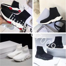 Wholesale White Color Boots - Double Box Black White Red Mixed Color Speed Trainer Casual Shoe Man Woman Sock Boots New Stretch-knit Slip On Elastic Race Runner Sneaker