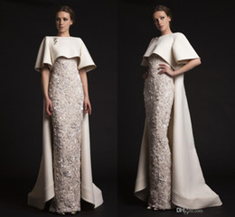 Wholesale Elegant Satin - Luxury Krikor Jabotian Long Evening Dresses with Cape Beaded Appliques Elegant Evening Gowns Formal Red Carpet Dresses Evening Wear Cheap