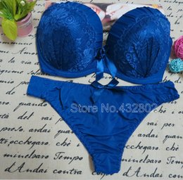 Wholesale Thong Brassiere - Wholesale-New 2015 VS Bra And Panty Set Lace Lingerie Push Up Bra Set Fashion Style Wholesale Brassiere, thong Set White Blue Pink Purple