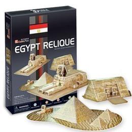 Wholesale 3d Puzzle Cubicfun - Wholesale-CubicFun 3D puzzle paper model DIY toy creative gift ancient domain egypt relique Egyptian pyramids New Edition C077H
