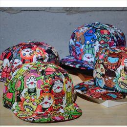 Wholesale Graffiti Snapback Hats - New Three Eyes Cartoon Vampire Graffiti Baseball Cap Popular Hip-Hop Hats Adjustable Flat Hat Snapback For Women And Men Mix Colors 10pcs