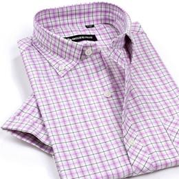 Wholesale Men Dress Shirts Purple Xxl - Wholesale-Summer Style Dress Shirt short sleeve Plaid Men brand camisas DXN17-26 6 color XS S M L XL XXL
