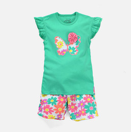 Wholesale Wholesale Blue Butterflies - Summer kids girl top+short pants set 2 pieces,lovely girls short sleeve butterfly pattern clothing 100% cotton 6 s l