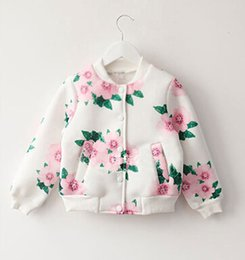 Wholesale Korean Long Sleeves For Girls - Autumn Wear New Arrival 2015 Printed Baseball Jackets For Korean Girls Space Cotton Long Sleeve Children Casual Outerwear 100-140 K569 XQZ