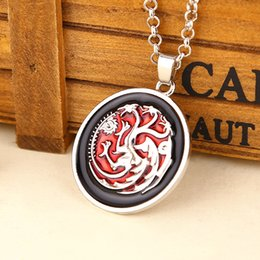 Wholesale Ice Circles - 2016 Movie Jewelry Game of Thrones Necklace A Song of Ice and Fire Targaryen Dragon Pendant Necklaces ZJ-0903229