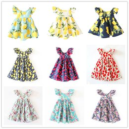 Wholesale White Suspenders For Kids - Multicolor Girls cute printing cotton ruffled cuff dress kids sweet lemon flower cherry patterns backless beach dress 6sizes for 1-6T