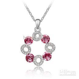 Wholesale Toning Wheel - Silver Tone Hot Pink Rhinestone Crystal Happy Ferris Wheel Pendant Necklace