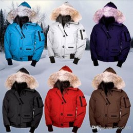 Wholesale Fashionable Winter Hats Men - 2017 With wholesale price Canada Brand Women's Chilliwack Bomber down Jacket Hoodies Fur Fashionable Winter Parka Free Shipping Top Qua