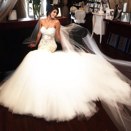 Wholesale Mermaid Veils - Luxury Lace Applique White Wedding Dresses Sweetheart Women Wedding Gowns With Veils Sheath Lace-Up Back Custom Made Sweet Wedding Dress