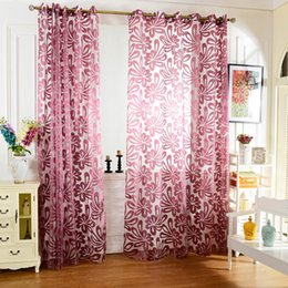 Wholesale Print Blackout Curtains - Curtain European Flower Printed Tulle Curtain Window Screening Treatments Living Room Children Bedroom Sheer Curtain 100 x 250 cm