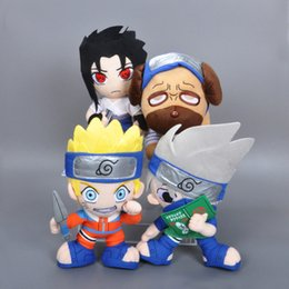 Wholesale Naruto Plush Wholesales - 4pcs lot 30cm Naruto Plush Toy Anime Characters Uchiha Sasuke Hatake Kakashi Pakkun Dog Uzumaki Naruto Stuffed Doll Cartoon Naruto Hot Toys