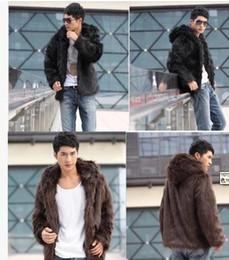 Wholesale Western Coats Plus Size - Fall-Men Western Style New 2016 Autumn & Winter Casual Fur Coat Warm Faux Fur Rabbit Fur Hooded Outwear Plus Size Short Jacket YY1016