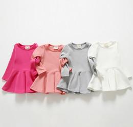 Wholesale Grey Kids Dress - 2015 Fashion Dresses Solid Girls Dress Princess Leisure Basic Wear Sleeveless Children Kids Dress Clothes Pink White Fuchsia Grey K5009