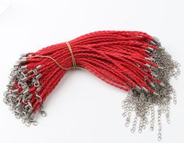 Wholesale Red Leather Braided Bracelet - 100pcs lot Red Leather Braided Charm Bracelet For Bead lobster Clasp Chains Jewelry DIY 0.3x20cm