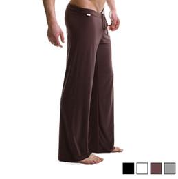 Wholesale Pant Yoga Men White - Wholesale-Male 4 color silky loose casual pants breathable casual trousers drawstring Men Sport Yoga pants Men lounge pants pajama pants
