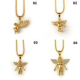 2020 colgante de angel de oro Nuevo 18 K chapado en oro Boy Angel Girl Angels colgante Micro Angel pieza collar para hombre mujer Hip Hop encanto joyería envío gratis colgante de angel de oro baratos