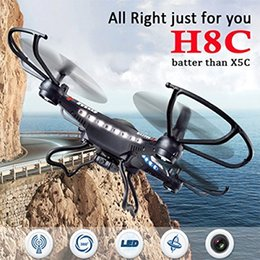 Wholesale New Rc Rtf Helicopters - JJRC H8C New Version 2.4G 4CH Headless Mode RC Quadcopter Drone with 2.0MP HD Camera RTF Flying Remote Control helicopter Mode2