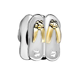 Wholesale Silver Flip Flop Bracelet - 10 pcs per lot Gold and Rhodium Plating Stylish Flip Flops Ladies Shoes Charm Fits Pandora Charm Bracelet