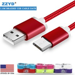Wholesale Fabric Braid - ZZYD 1.5M 5ft Type-c Fabric Braided Micro USB Cable Data & Cables Line Charger Cords For Samsung HTC V8 Wire