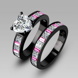 Wholesale Couple Wedding Rings Black Heart - Wholesale-White Heart Cubic Zirconia Black Engagement Ring Wedding Ring Set for Women, Turkish Couple Ring o Jewelry, Maxi Ring