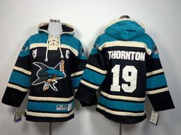 Wholesale Boys Xl Hoodie - Cheap Youth San Jose Sharks Ice Hockey Hoody 19 Joe Thornton 88 Brent Burns Ice Hockey Hoodies Hooded Sweatshirt size S-XL