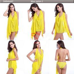 Wholesale Yellow Swimdress - New sexy changed beach dress bikini three-piece high elastic gauze siren magic tees holiday dress more swimsuit summer EMS 60pcs