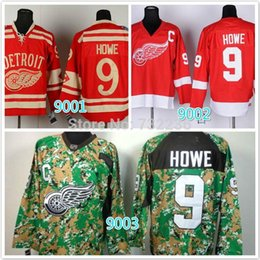 Wholesale Cheap Stitched Nhl Jerseys - 2014 cheap stitched NHL Detroit Red Wings #9 Gordie Howe red  camo ice hockey jersey shirt sportswear