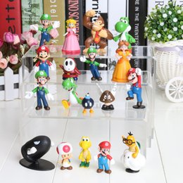 "Wholesale Super Mario Plush Figures - Wholesale-Wholesale 18PCS Super Mario Bros 1-2.5"" Figure Toy Doll Super Mario Brothers Fun Collectible PVC figures Super mario Figure"