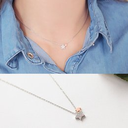 Wholesale Eastern Star Necklace - Korean Korean star with money S925 Silver Micro Pave zircon meteor star-shaped silver necklace set chain D772