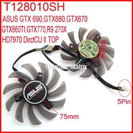 Ventilateur asus 12v en Ligne-Vente en gros - 2pcs / lot EVERFLOW T128010SH DC 12V 0.25A 75mm Pour ASUS R9 270X HD7970 GTX770 DirectCU II Fan de carte graphique 5Pin