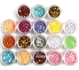 Wholesale Acrylic Nail Art Accessories - 18 Colors 3D Stars Nail Art Glitter Sequins Acrylic Nail Tips Decoration Accessories Design Tools Hot Sale Free Shipping DHL #6805
