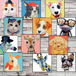 Wholesale Paint Number Kit Oils - Cute Cats Dogs Animals Diy Oil Painting By Numbers Kits Wall Art Picture Home Decor Digital painting On Cotton cloth For Artwork