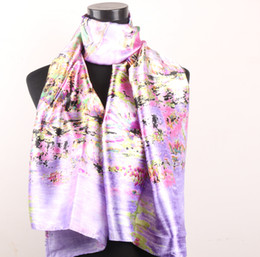 Wholesale 1pcs Hunter Green Black Sunflowers Lavender Color Women s Fashion Satin Oil Painting Long Wrap Shawl Beach Silk Scarf X50cm