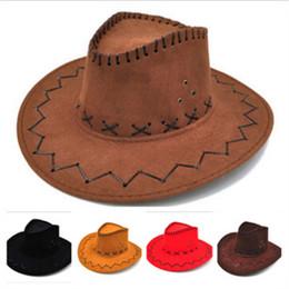 Sombrero de vaquero Nueva gamuza Look Wild West Fancy Dress Hombres Ladys  Cowgirl Unisex Mujeres adultas Hombres Niños Visor Knight Sombreros de ala  ancha ... 3bf6cd6231f